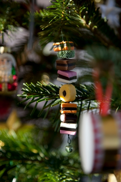 Julepynt af lakridskonfekt