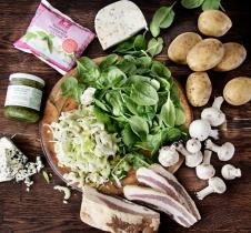 madbrød-pizza-spinat-mozzarella-ingredienser