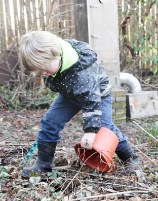 Johan sætter sin egen orange spand over et lækkert rabarberskud, så han kan drive stænglerne og få lækker raberbartærte.