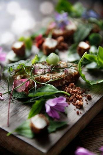 Madbloggerudfordringen_hjemmerøget-friskost-på-mælkebøtter-vild-salat-af-urter-og-spiselige-blomster